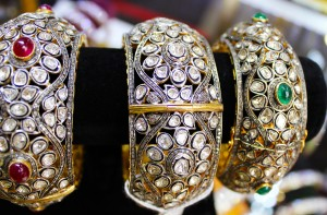 Neotric Gems - Victorian inspired large bangles adorned with diamonds, and ruby or emerald accents