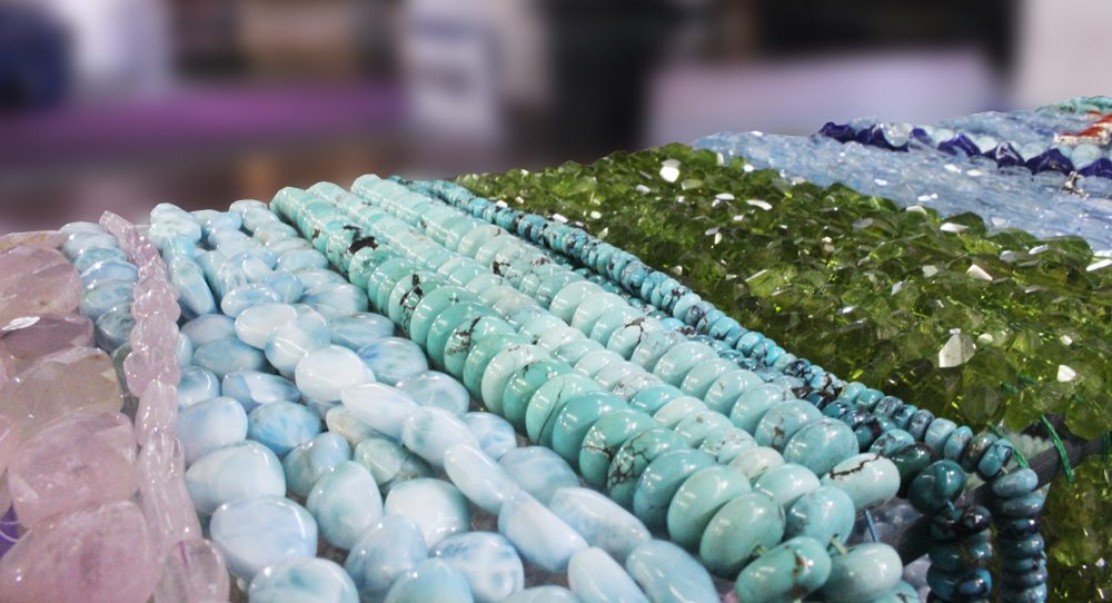 Some of Kameyab's high-quality stones locked away in a showcase at the Show