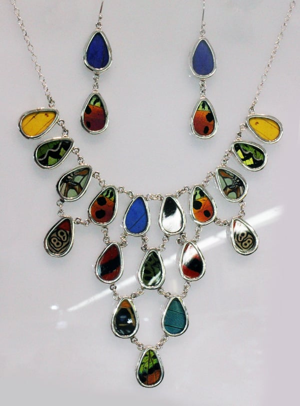 Multi-layered butterfly necklace