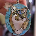 Turquoise Inlay Wolf Pendant at the JOGS Tucson Gem & Jewelry Show