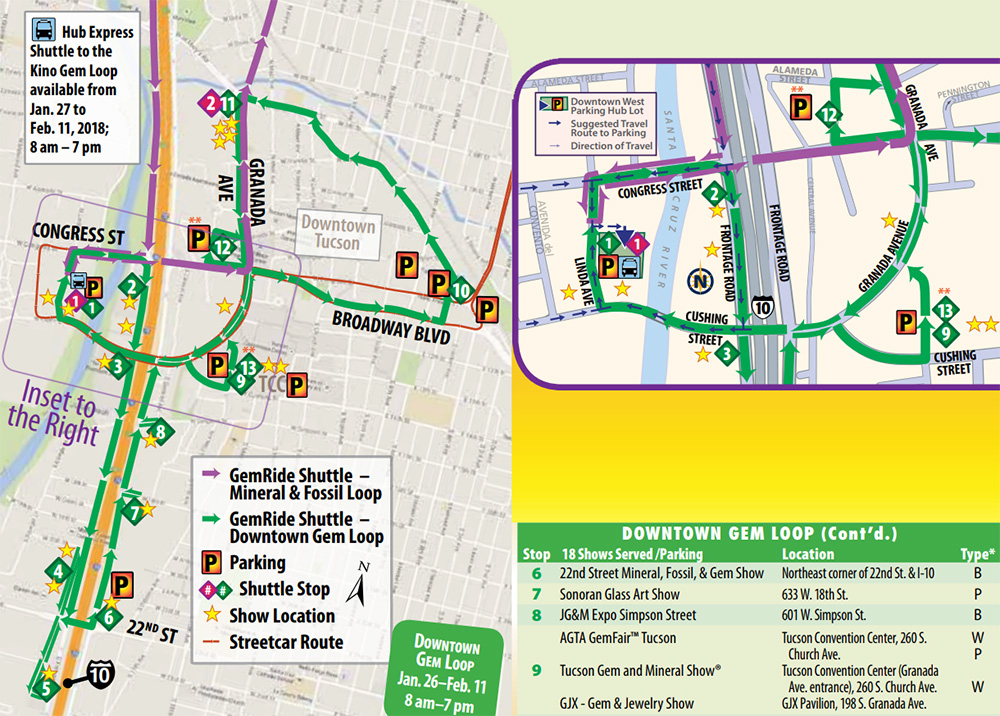 Downtown Tucson Gem Show Shuttle Map 2018 and 2019