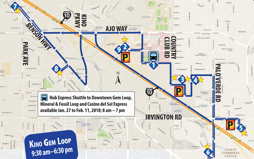 Tucson Gem Show Shuttle Map Kino, JOGS, G&LW, Blue Map near Airport Kino Gem Loop